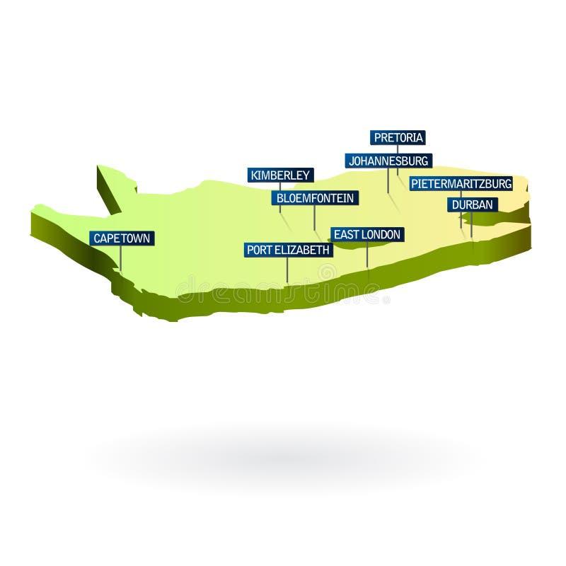 Correspondencia de Suráfrica 3d con las ciudades stock de ilustración