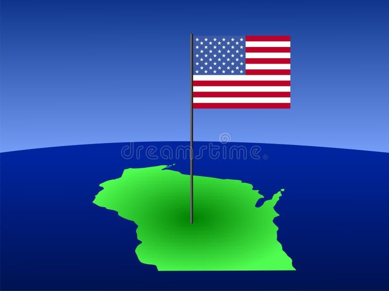 Correspondencia de Wisconsin con el indicador ilustración del vector