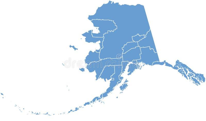Correspondencia del estado de Alaska por los condados ilustración del vector