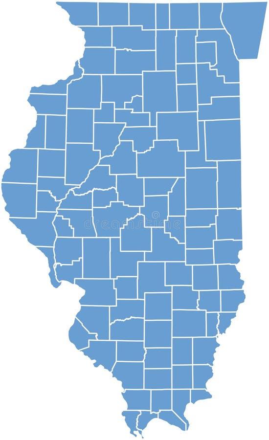 Correspondencia del estado de Illinois por los condados stock de ilustración