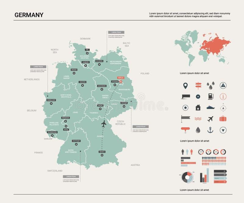 Correspondencia del vector de Alemania Alto mapa detallado del pa?s con la divisi?n, las ciudades y la capital Berl?n Mapa pol?ti stock de ilustración