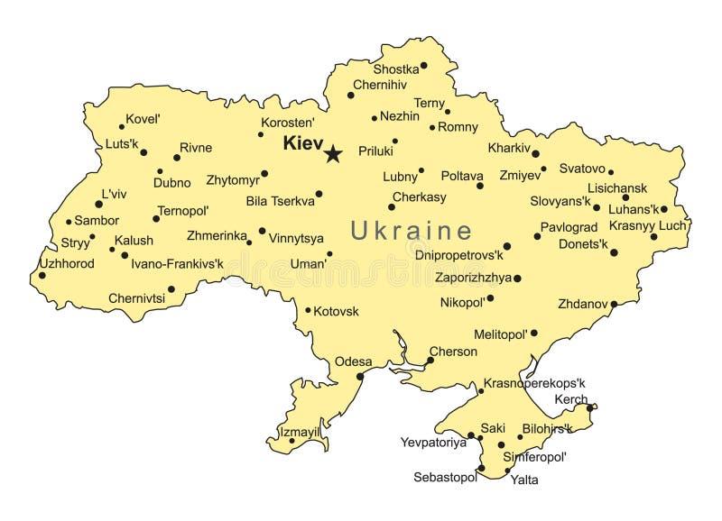 Correspondencia del vector de Ucrania stock de ilustración
