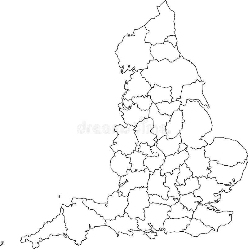 Correspondencia en blanco de Inglaterra - condados ilustración del vector