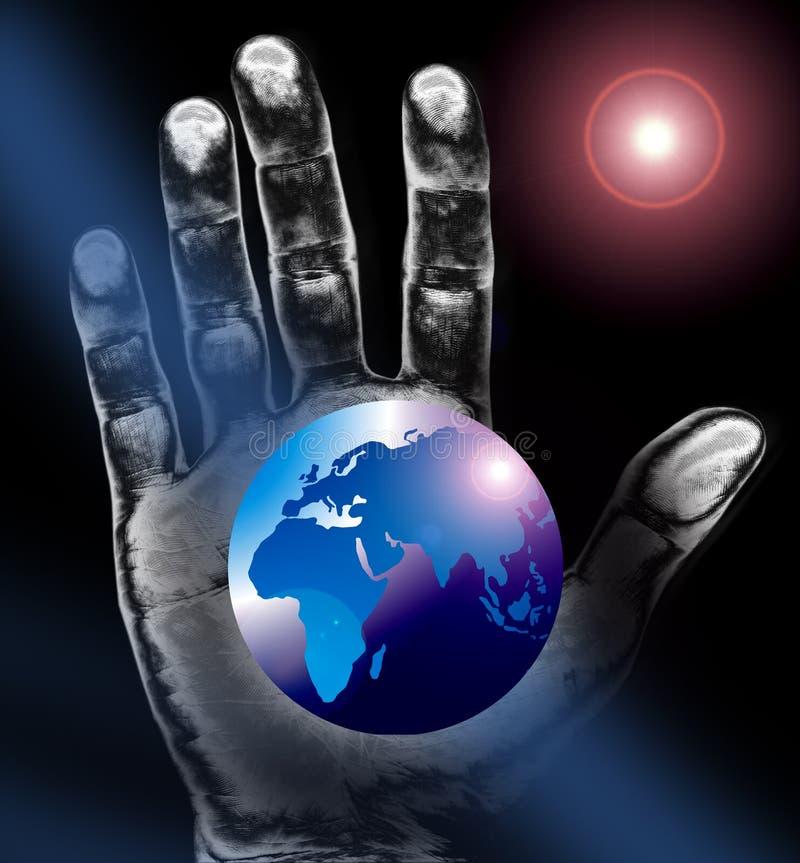 Correspondencia o globo de mundo más la mano libre illustration