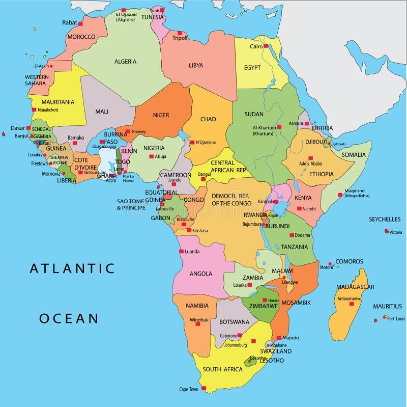 Correspondencia política de África stock de ilustración