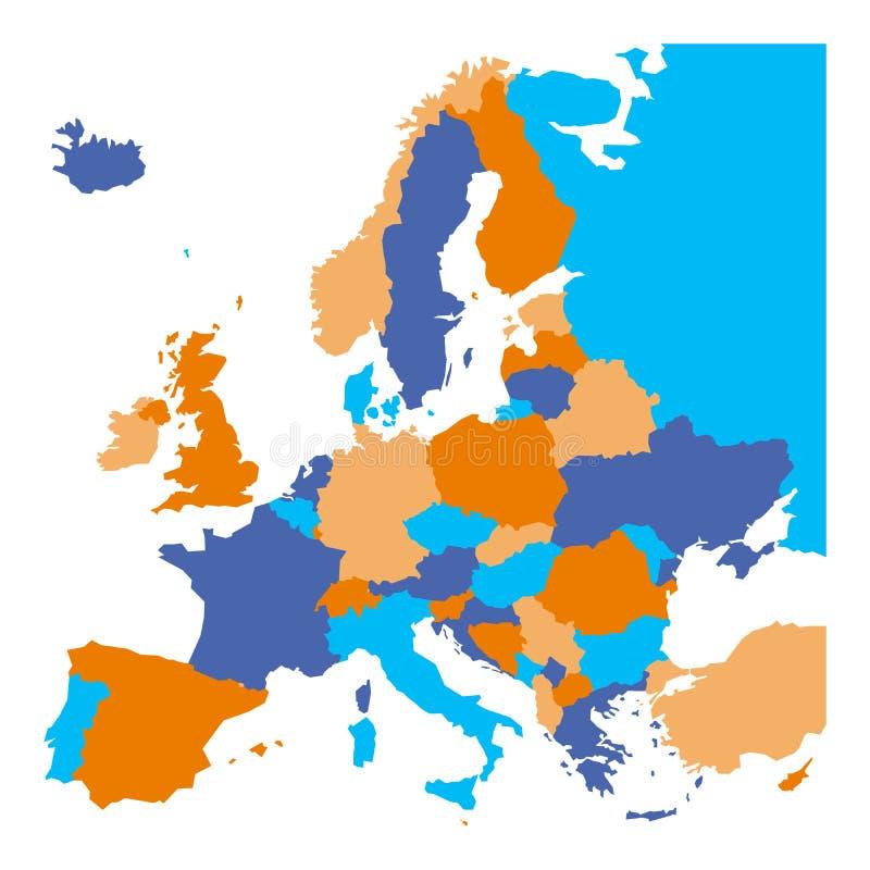 Correspondencia política de Europa Miniestados europeos incluidos Mapa plano en el fondo blanco Ilustración colorida del vector ilustración del vector