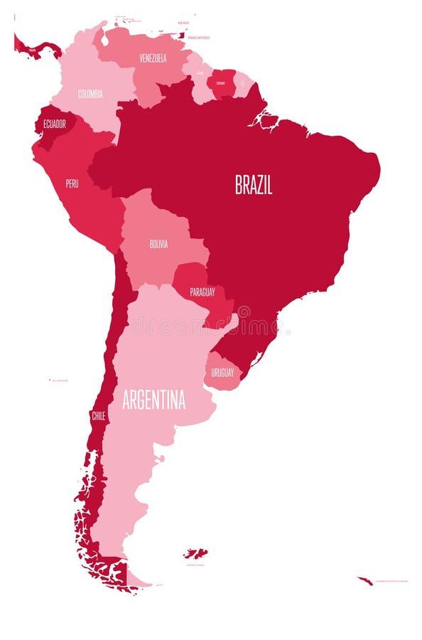 Correspondencia política de Suramérica Mapa plano simple del vector con las etiquetas del nombre de país en cuatro sombras de mar ilustración del vector