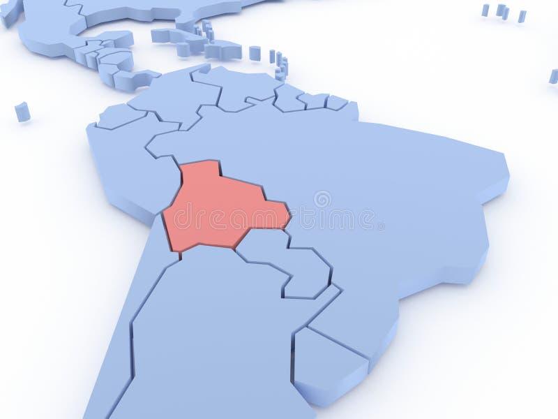 Correspondencia tridimensional de Bolivia aislada. 3d ilustración del vector