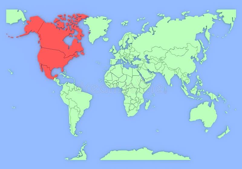 Correspondencia tridimensional de Norteamérica aislada. libre illustration
