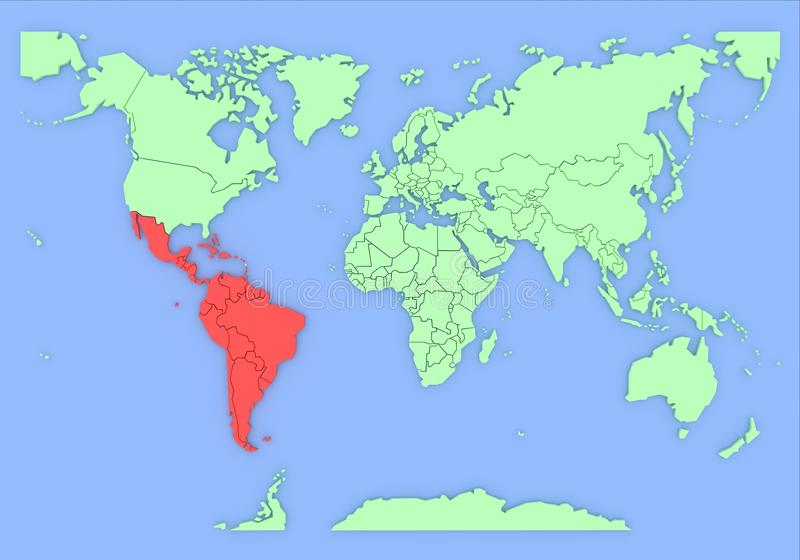 Correspondencia tridimensional de Suramérica aislada. libre illustration