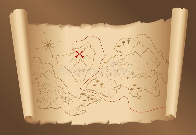 Correspondencia vieja del tesoro ilustración del vector
