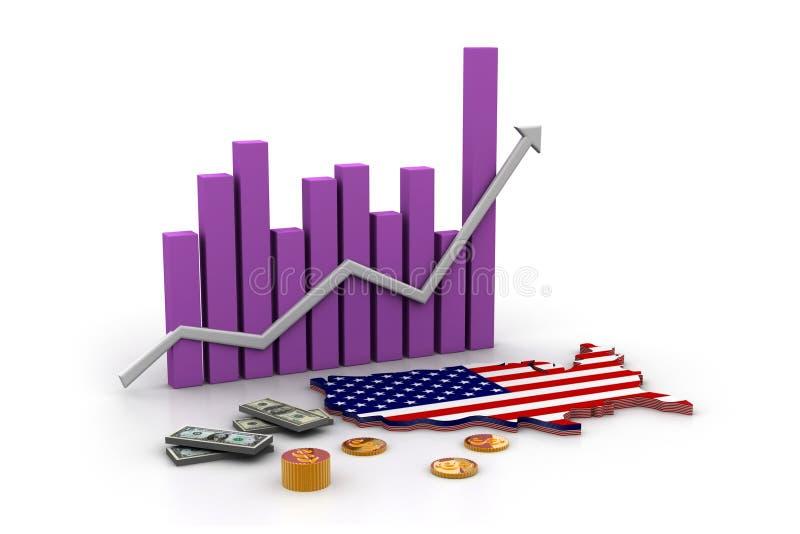 Correspondencia y dinero en circulación de América stock de ilustración