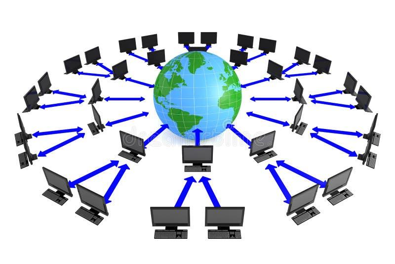 Correspondencia y ordenador de mundo ilustración del vector