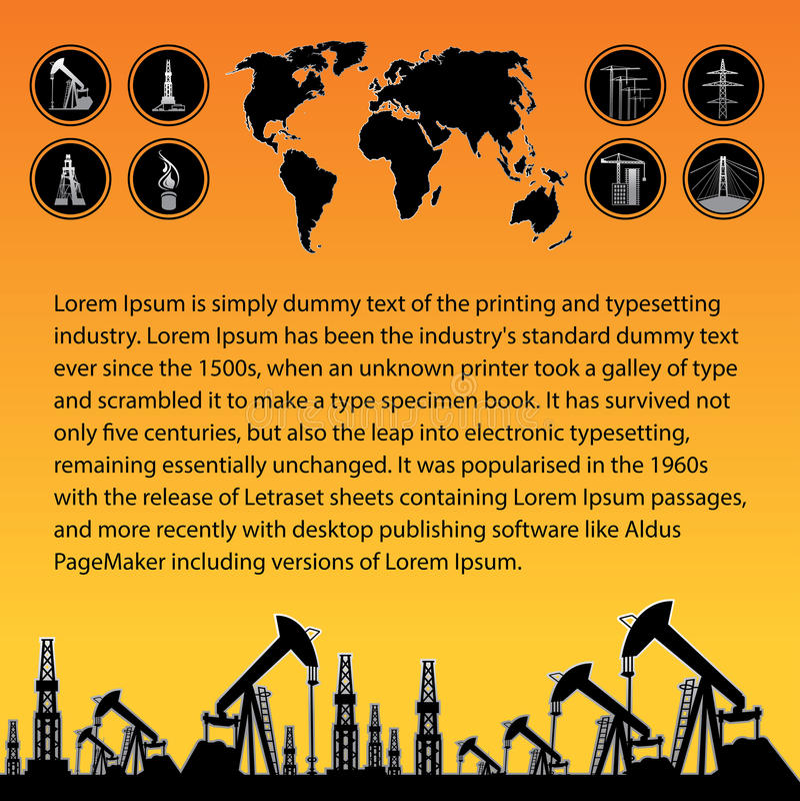 Correspondencia y plataforma petrolera stock de ilustración