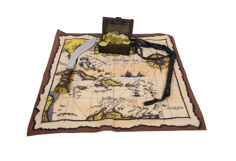 Correspondencia y tesoro del pirata imagen de archivo