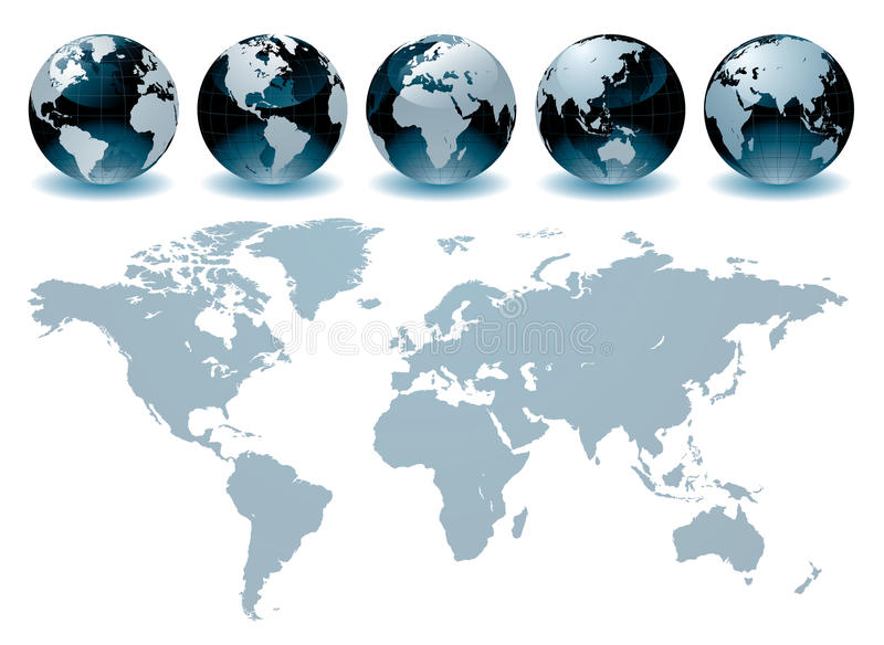 Correspondencias del globo del mundo ilustración del vector