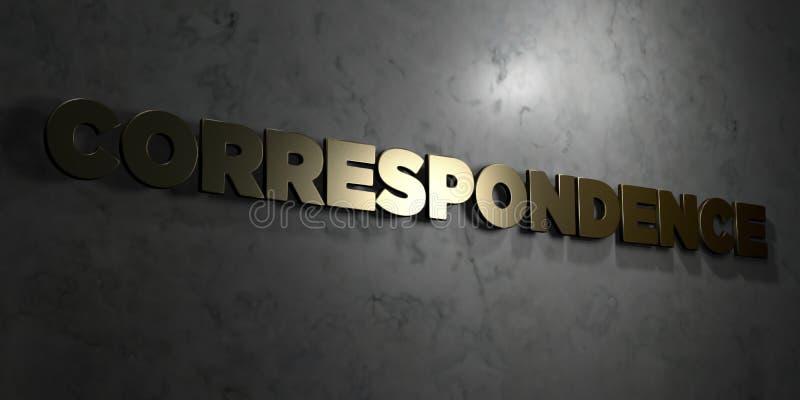 Correspondentie - Gouden tekst op zwarte achtergrond - 3D teruggegeven royalty vrij voorraadbeeld royalty-vrije illustratie