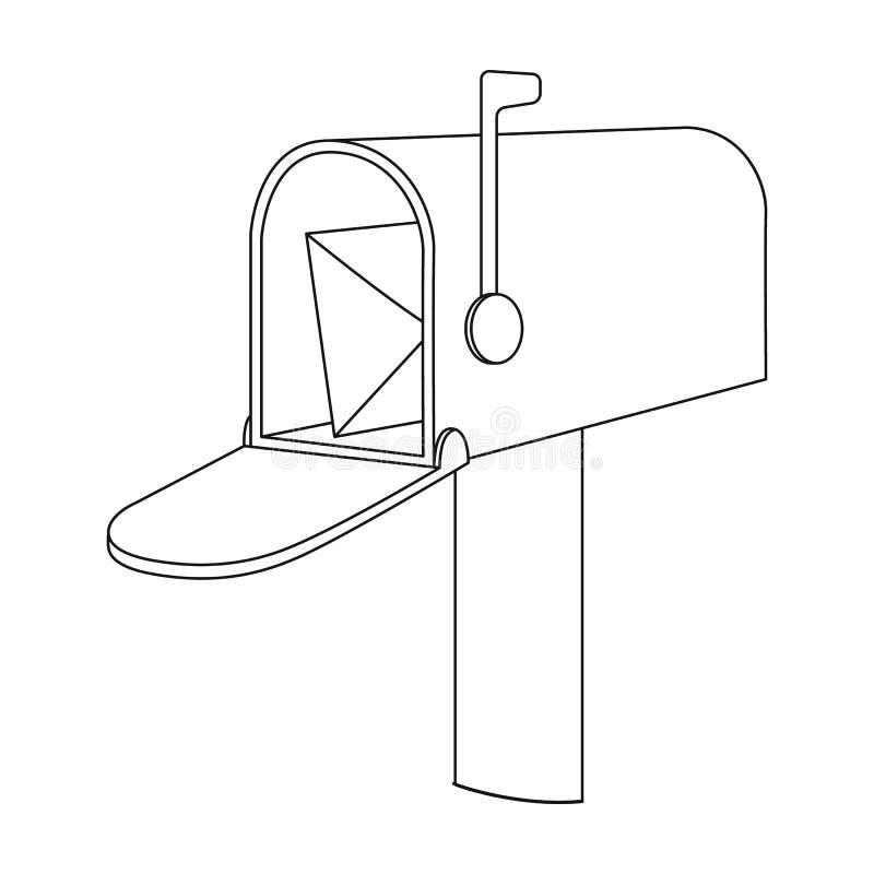 Correspondentiedoos Post en brievenbesteller enig pictogram in van de het symboolvoorraad van de overzichtsstijl vector de illust royalty-vrije illustratie