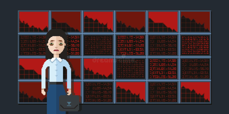 Corretor da mulher e falência, ilustração do estilo da arte do pixel imagens de stock