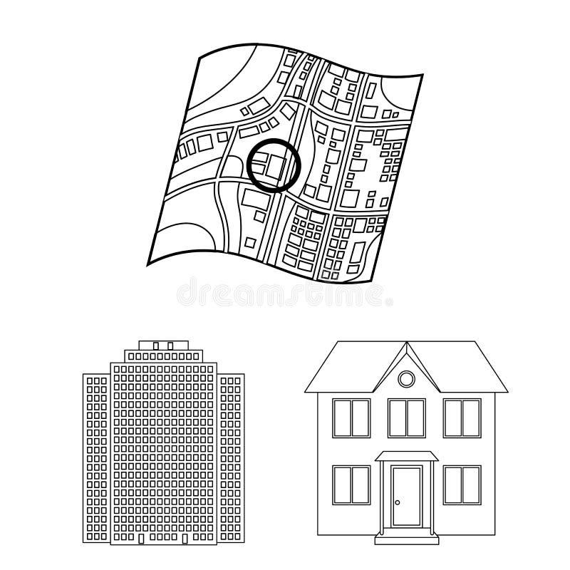 Corretor de imóveis, ícones do esboço da agência na coleção do grupo para o projeto Comprando e vendendo bens imobiliários vector ilustração stock
