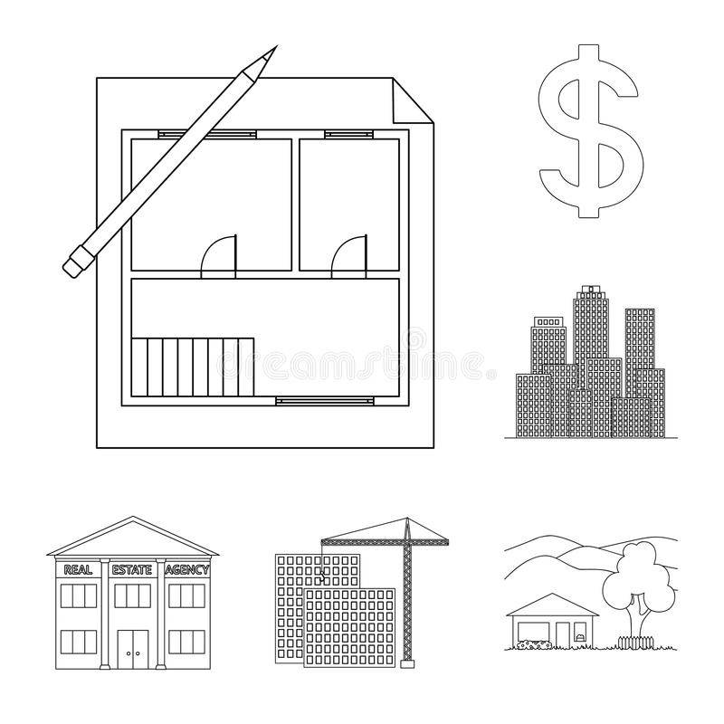 Corretor de imóveis, ícones do esboço da agência na coleção do grupo para o projeto Comprando e vendendo bens imobiliários vector ilustração royalty free
