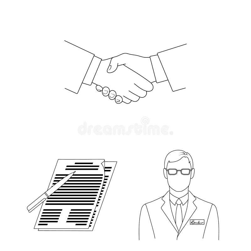Corretor de imóveis, ícones do esboço da agência na coleção do grupo para o projeto Comprando e vendendo bens imobiliários vector ilustração do vetor