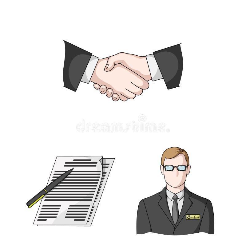 Corretor de imóveis, ícones dos desenhos animados da agência na coleção do grupo para o projeto Comprando e vendendo bens imobili ilustração royalty free