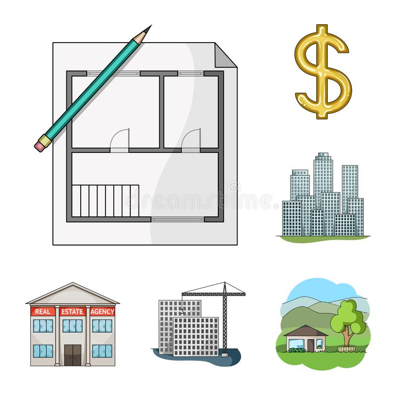 Corretor de imóveis, ícones dos desenhos animados da agência na coleção do grupo para o projeto Comprando e vendendo bens imobili ilustração stock