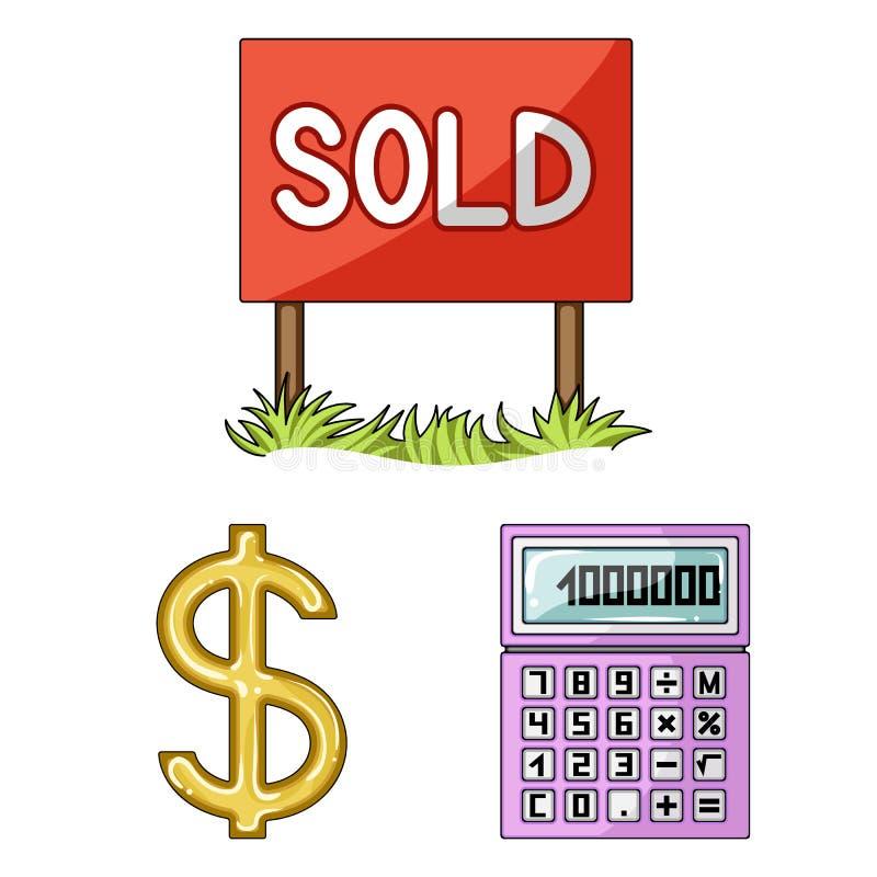 Corretor de imóveis, ícones dos desenhos animados da agência na coleção do grupo para o projeto Comprando e vendendo bens imobili ilustração do vetor