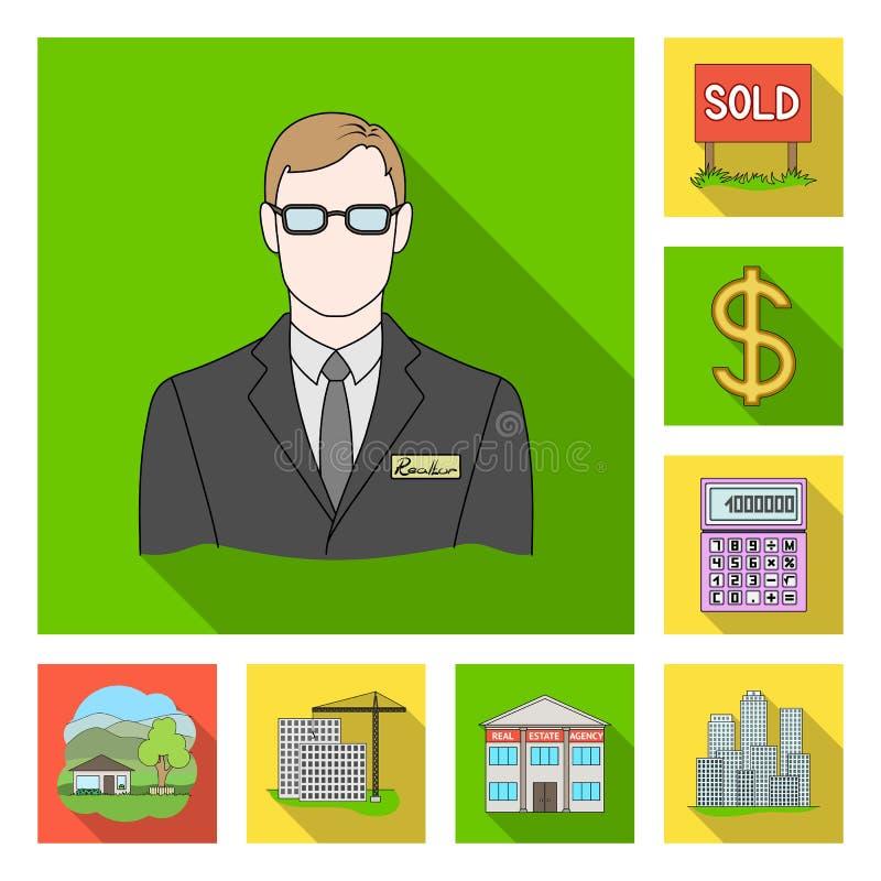 Corretor de imóveis, ícones lisos da agência na coleção do grupo para o projeto Comprando e vendendo bens imobiliários vector o s ilustração do vetor