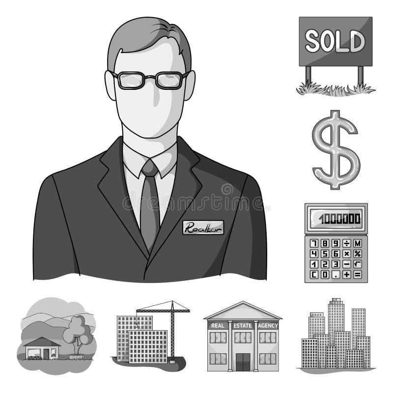 Corretor de imóveis, ícones monocromáticos da agência na coleção do grupo para o projeto Comprando e vendendo bens imobiliários v ilustração royalty free