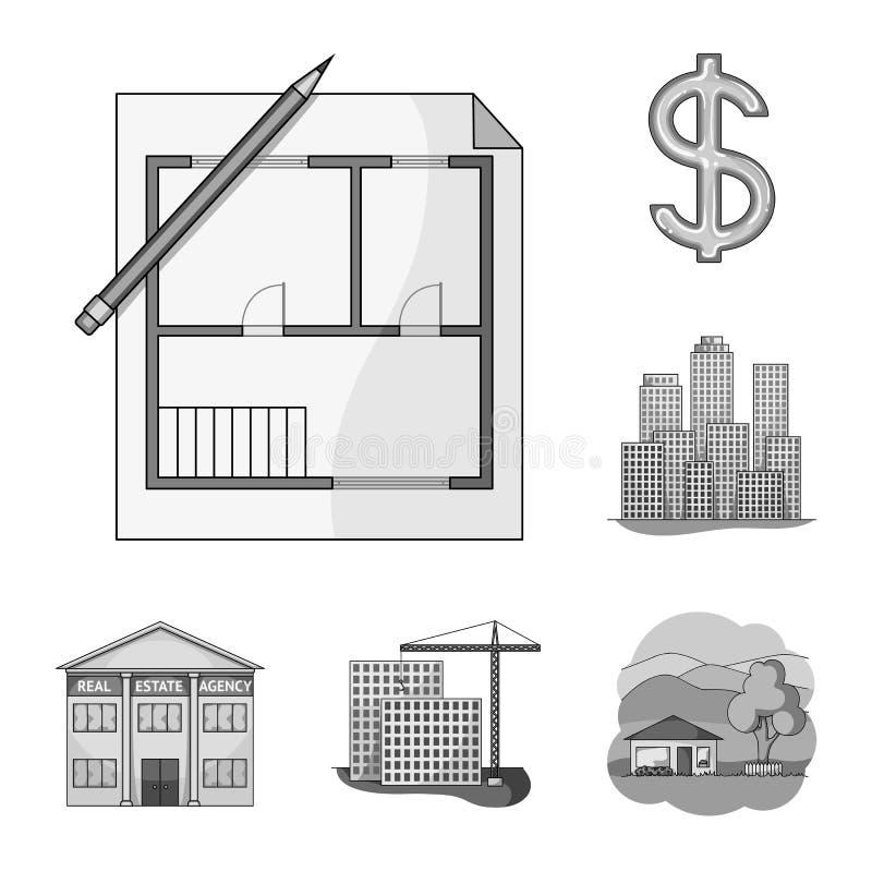 Corretor de imóveis, ícones monocromáticos da agência na coleção do grupo para o projeto Comprando e vendendo bens imobiliários v ilustração stock