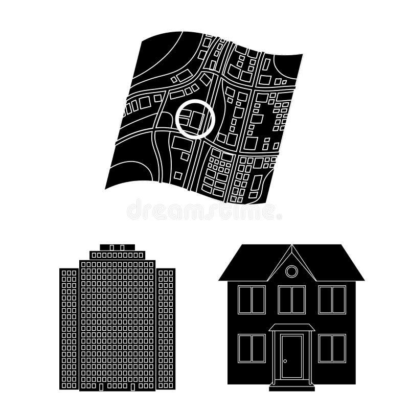 Corretor de imóveis, ícones pretos da agência na coleção do grupo para o projeto Comprando e vendendo bens imobiliários vector o  ilustração do vetor