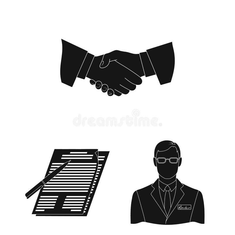 Corretor de imóveis, ícones pretos da agência na coleção do grupo para o projeto Comprando e vendendo bens imobiliários vector o  ilustração stock