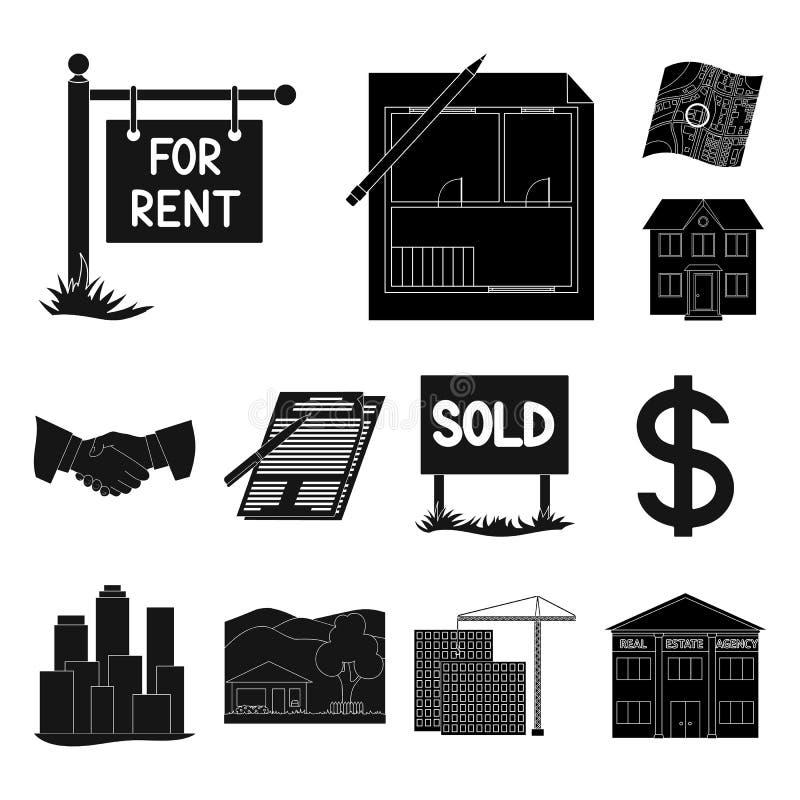 Corretor de imóveis, ícones pretos da agência na coleção do grupo para o projeto Comprando e vendendo bens imobiliários vector o  ilustração royalty free