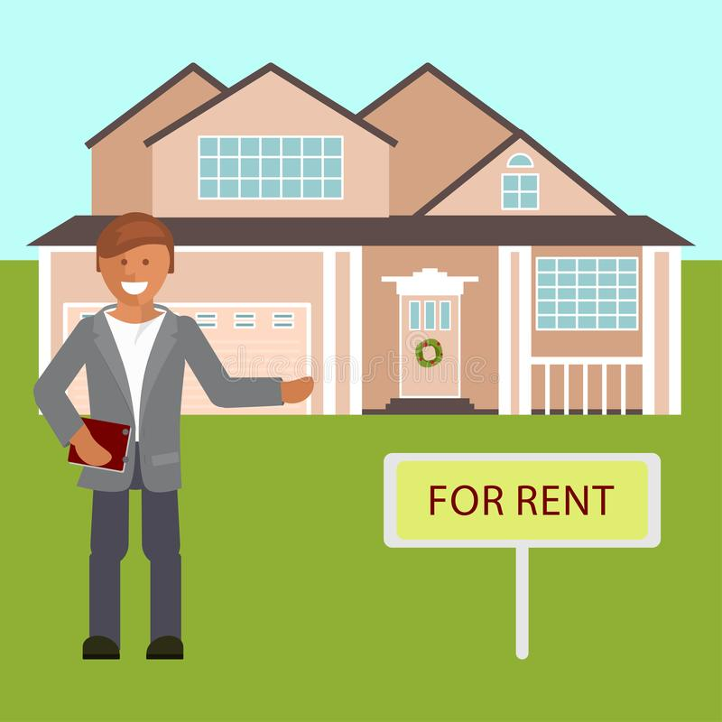 Corretor de imóveis com cartaz para o aluguel ilustração royalty free