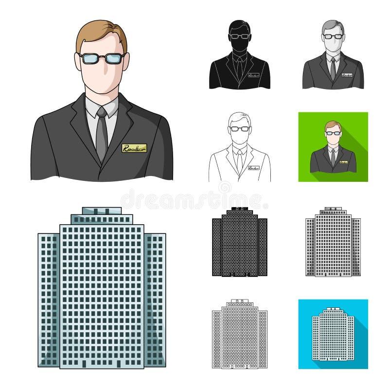 Corretor de imóveis, desenhos animados da agência, preto, liso, monocromático, ícones do esboço na coleção do grupo para o projet ilustração do vetor