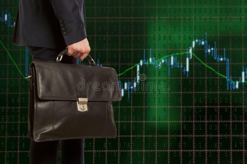 Corretor de troca Homem de negócios com pasta foto de stock royalty free