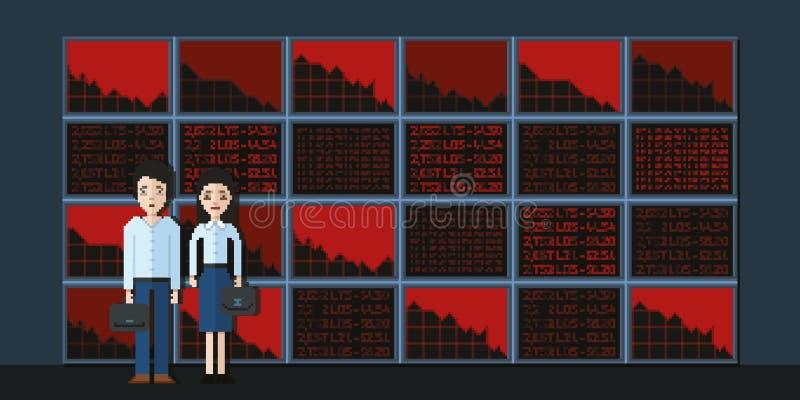 Corretores tristes no fundo das telas e em diminuições no mercado de valores de ação fotografia de stock