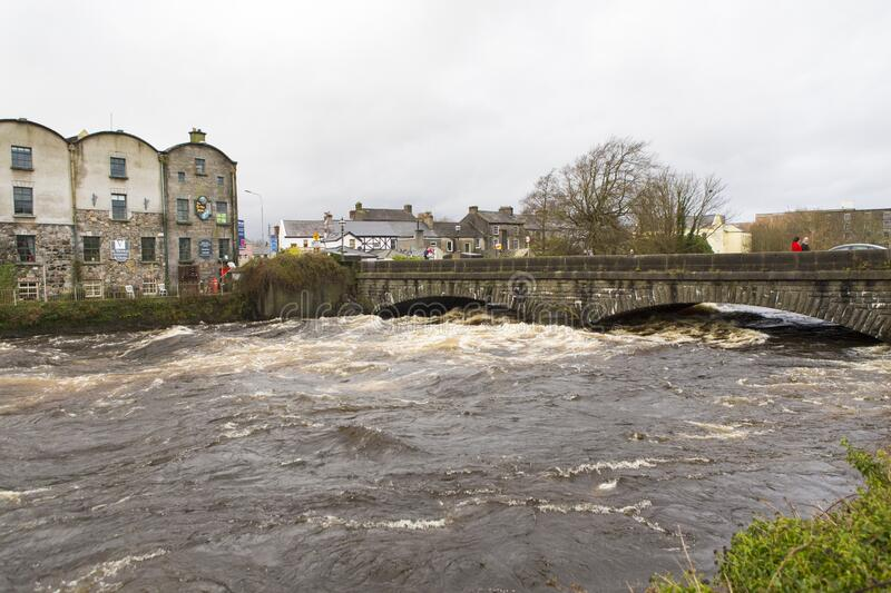 The Corrib river having a high level because of the rain stock photography