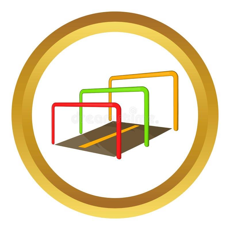 Corrida com ícone dos obstáculos ilustração do vetor