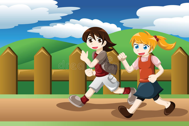 Corrida das meninas exterior ilustração do vetor