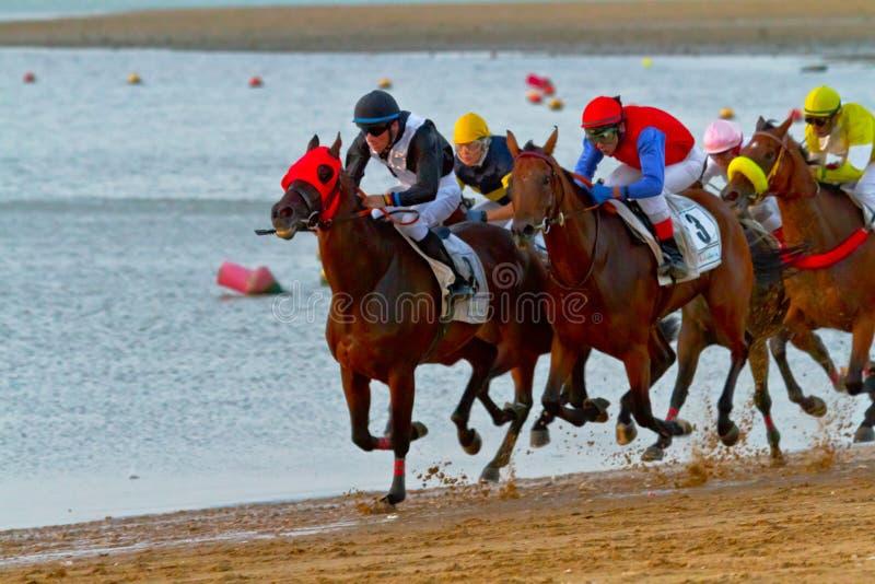 Corrida de cavalos em Sanlucar de Barrameda, Espanha, em agosto de 2011 imagens de stock royalty free