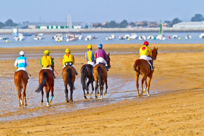 Corrida de cavalos em Sanlucar de Barrameda, Espanha, em agosto de 2011 imagem de stock