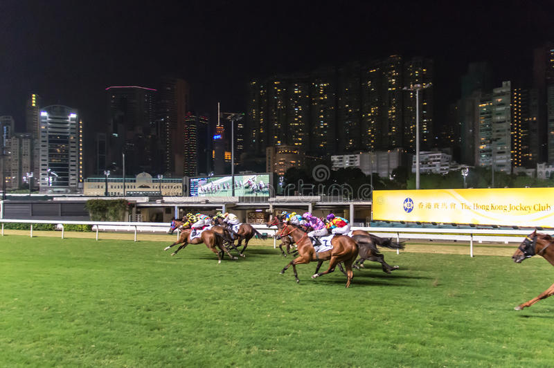 Corrida de cavalos, vale feliz Hong Kong fotos de stock