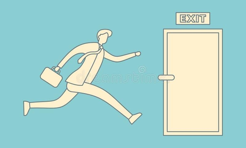 Corrida do homem de negócios para abrir a ilustração da porta de saída ilustração do vetor