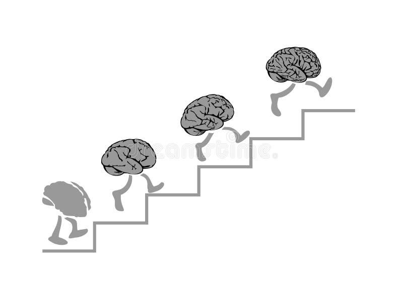 A corrida dos cérebros está escalando as escadas, o mais esperto - o mais alto ilustração royalty free