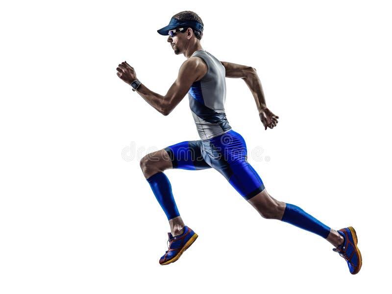 Corrida dos corredores do atleta do homem do ferro do triathlon do homem foto de stock royalty free