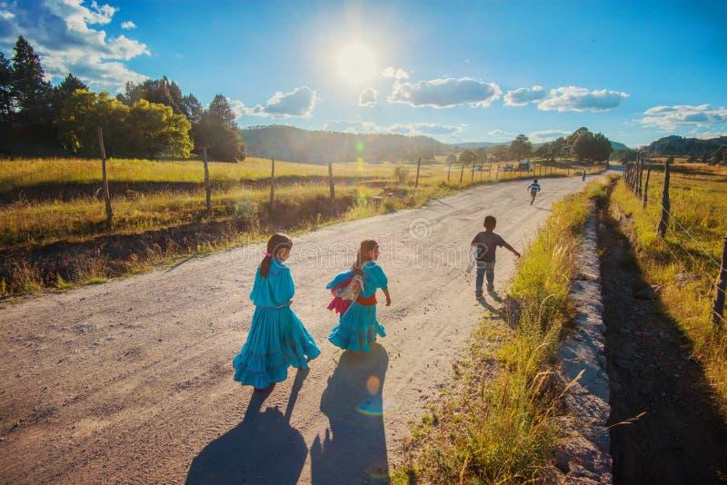 Corrida feliz nativa nativa da menina e do menino da escola no vestido colorido tradicional, México, América imagem de stock royalty free