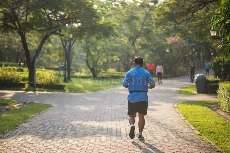 Corrida gorda superior do homem no parque fotografia de stock royalty free